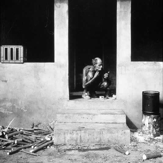 Man shaving on verandah, Western Transvaal, 1986