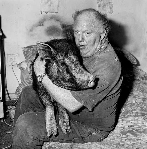 Brian with pet pig, 1998